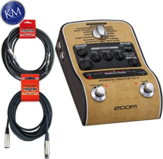 Zoom AC-2 Acoustic Creator Pedal + 2 XLR Cables & Instrument Cable