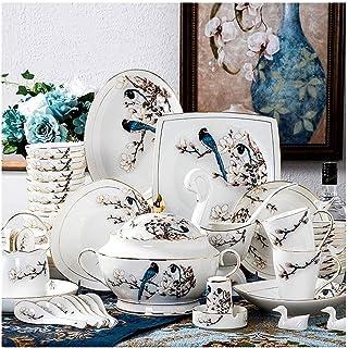 YANJ Ensemble de dîner 60 pièces Ensemble de dîner, Ensemble de Vaisselle en Porcelaine de Phnom à imprimé Floral de Fleur...