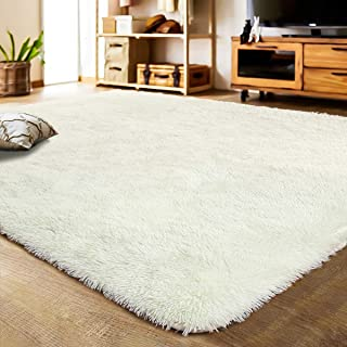 LOCHAS Soft Indoor Modern Area Rugs Fluffy Living Room Carpets Suitable for Children Bedroom Decor Nursery Rugs 4 Feet by 5.3 Feet, Creamy