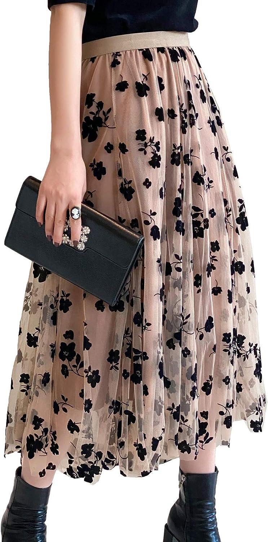Womens Tulle Skirts High Waist Layered Floral Printed A-Line Maxi Hem Skirts Mesh Midi Skirt