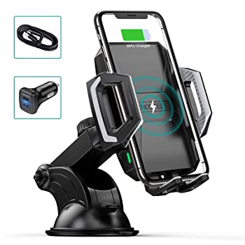 CHOETECH Wireless Car Charger, 10W Max Qi Wireless Fast Charger Car Mount USB-C Phone Holder with 36W Dual Car Charger Compatible iPhone SE, iPhone 11/Pro/Max/XS/Max, Galaxy S20/S20+/Note 10/S10