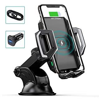 CHOETECH Wireless Car Charger, 10W/7.5W Qi Wireless Fast Charging Car Mount USB-C Phone Holder Compatible with iPhone 11/P...