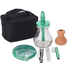 Hookah Outdoor Travel Mini Glass Shisha Hookah Set with Handbag for Easy Carrying(Green)