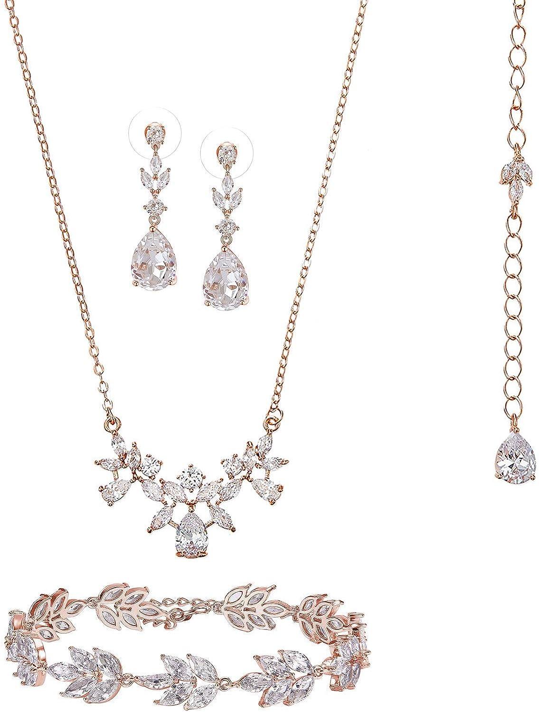 SWEETV Rose Gold Wedding Necklace Dangle Earrings Bracelet Set for Brides, Jewelry Set for Women,3Pcs