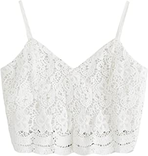 Women's Casual Lace Crochet Spaghetti Strap Zip Up Cami Crop Top Camisole
