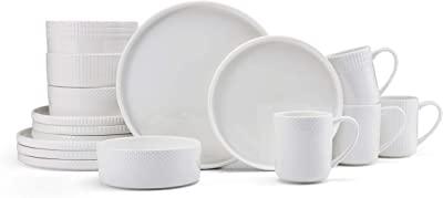 Mikasa Camila Chip Resistant 16-Piece Dinnerware Set, White