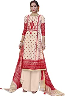 Fetching Cream & Red Palazzo Style Suit