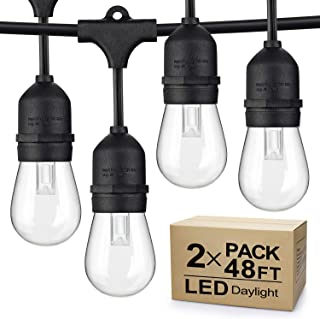 2-Pack Dimmable LED Outdoor String Lights for Patio Daylight White, IP65 Waterproof Hanging Edison Bulbs, 48Ft Commercial Grade Lights String Create Ambience for Garden Backyard Party (Total 96ft)