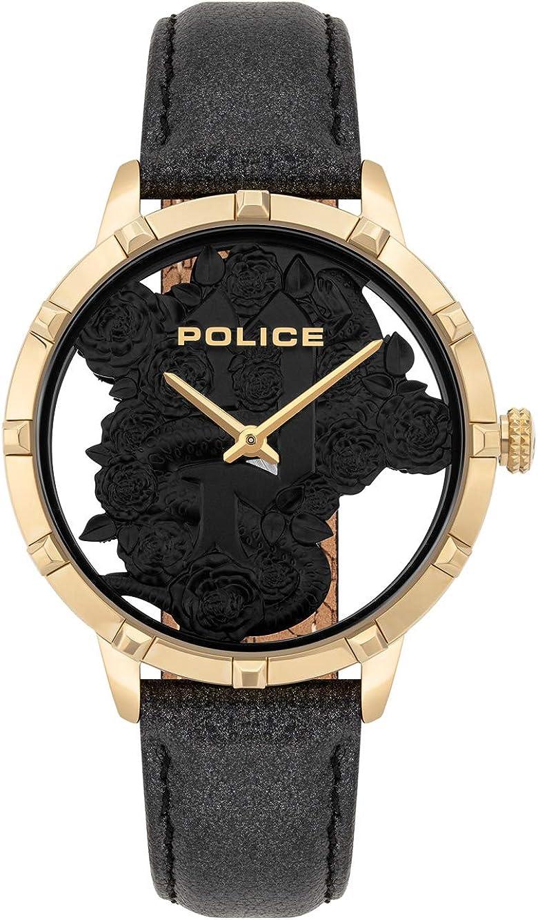 Police Reloj Analógico para Unisex Adultos de Cuarzo con Correa en Cuero PL16041MSG.02