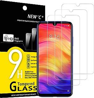NEW'C 3-pack skärmskydd med Xiaomi Redmi Note 7, Note 7s, Note 7 Pro – Härdat glas HD klar 9H hårdhet bubbelfritt