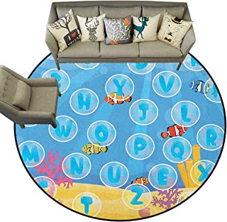 Kids Activity,Floor Mats Letters of The Alphabet in Bubbles Under The Sea Educational Illustration D60 Non-Slip Crawling Round Carpet Rugs