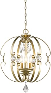 Golden Lighting 1323-3P WG Ella - Three Light Pendant, White Gold Finish with Multi-Faceted Clear Crystal