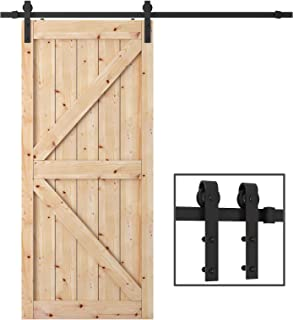 WBHome PBD001 FBA_SDHA023BK Penson & Co. Sliding Barn Door Hardware Set Black 6.6 FT-Antique Style