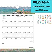 Small 2020 Wall Calendar (Impressions) 8.5x11 Inches, Stunning Hanging Calendar, Use Now to December 2020, with Stickers for Calenders, Monthly Calendars by Cranbury