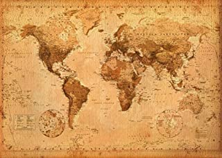 Antique Style World Map - Giant Poster (Vintage Design) (Size: 55 inches x 39 inches)