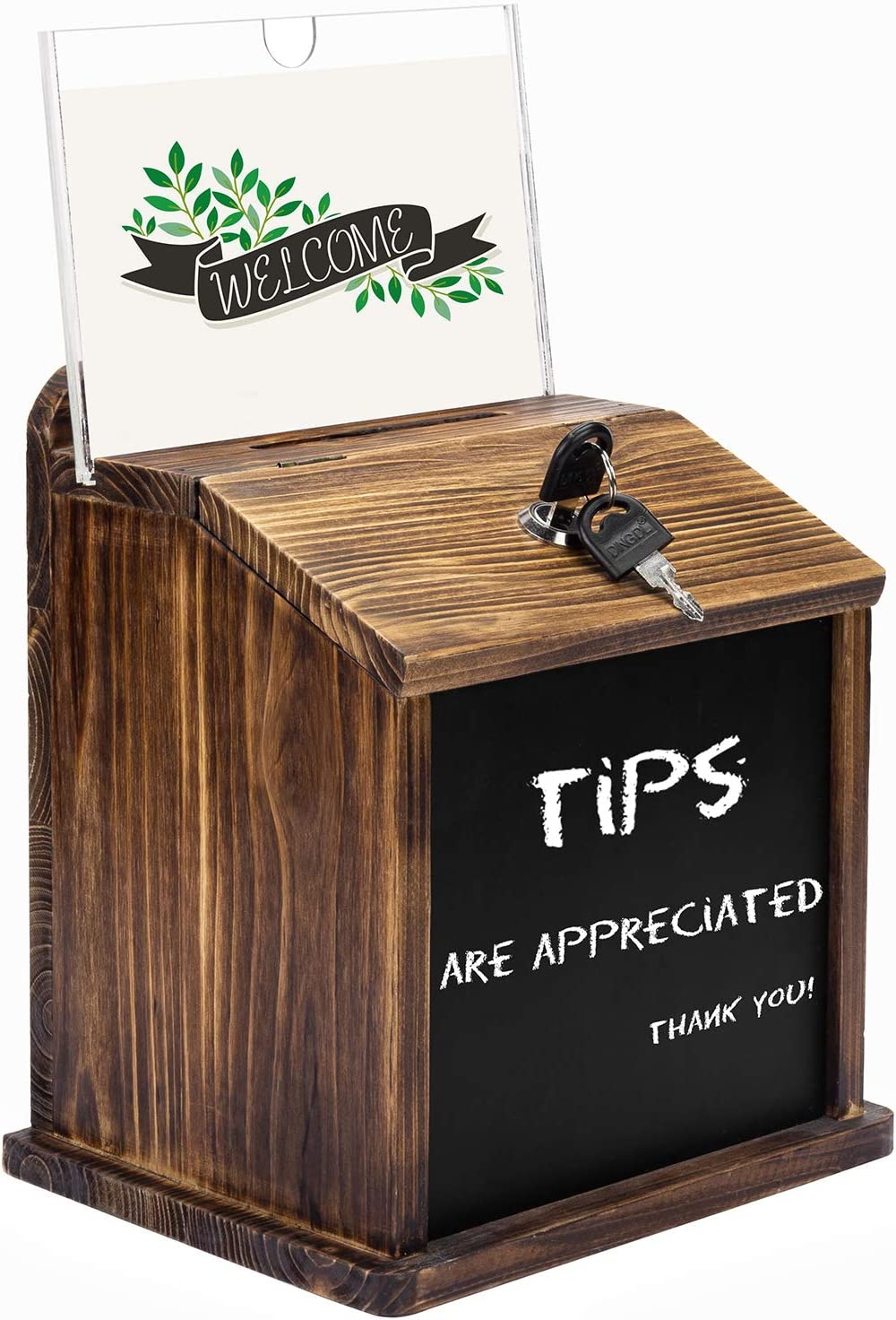 MyGift Rustic Burnt Wood Now on sale Wall Popular overseas Restaurant Fundrais Mountable Tip
