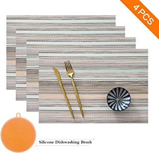 SAYOPIN Place Mats Set of 4 Heat Insulation Stain Resistant Placemats for Dining Table Durable Cross Weave Woven Vinyl Kitchen Table Mats Placemat (Blue Stripes)