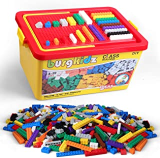burgkidz Classic Building Bricks Set, 1000 Pieces Kids Building Blocks and Storage Box with Building Baseplate and Handle,...