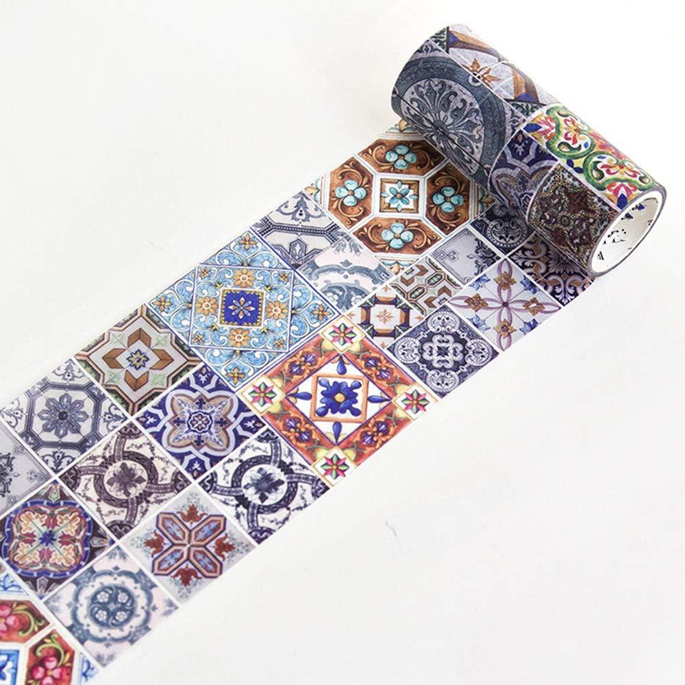 Cinta washi mosaico retro 10 cm de ancho x 5 metros pack 2