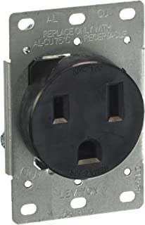 Leviton 5374-S00 50 Amp, 250 Volt, Flush Mounting Receptacle, Straight Blade, Industrial Grade, Grounding, Black, pack of 1