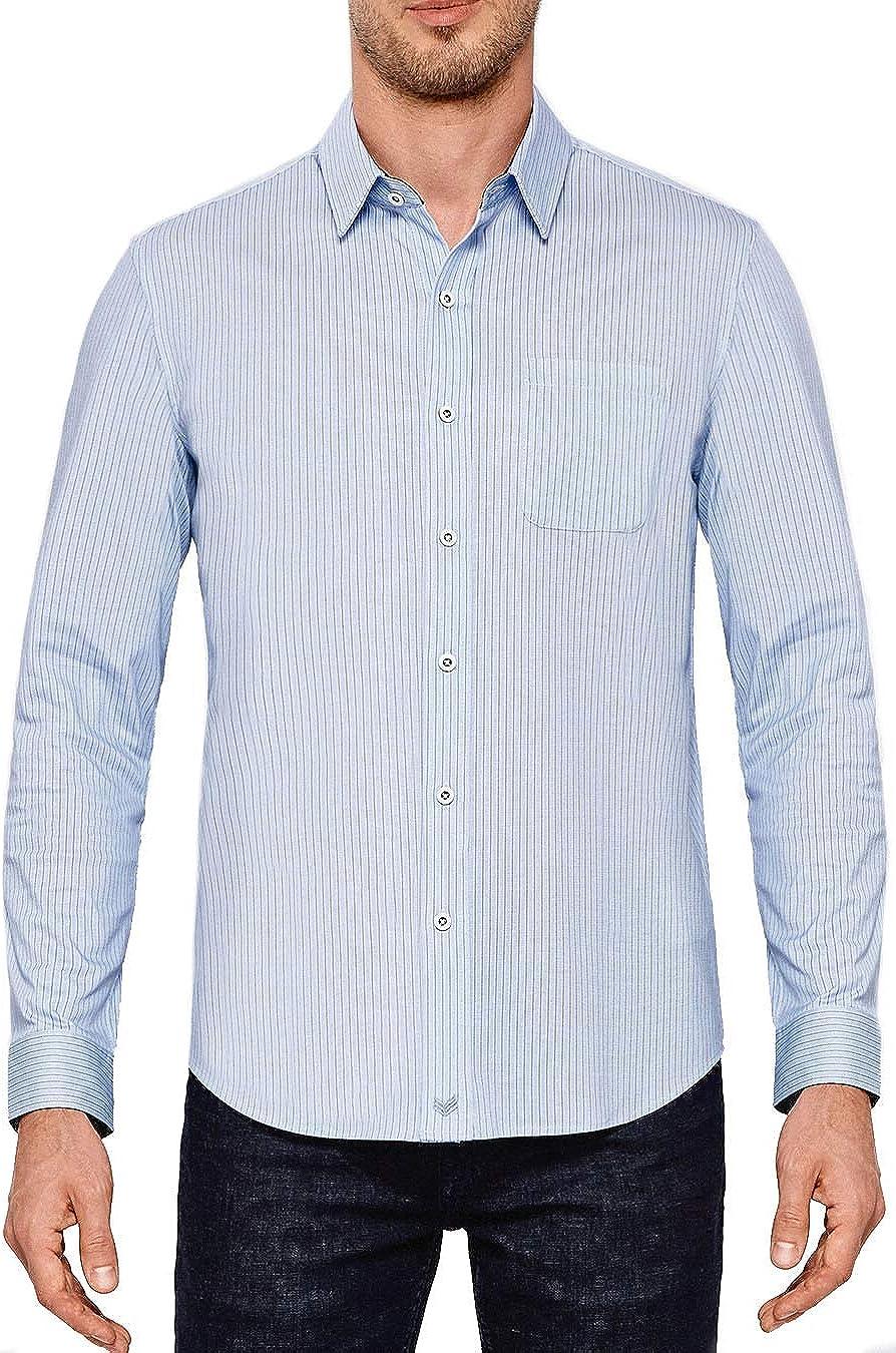 Buttercloth Men's Regular Fit Daring Deed Long Sleeve Dress Shirt (Blue)