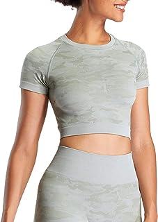 Aoxjox Women's Workout Short Sleeve Seamless Camo Crop Top Gym Sport Shirts