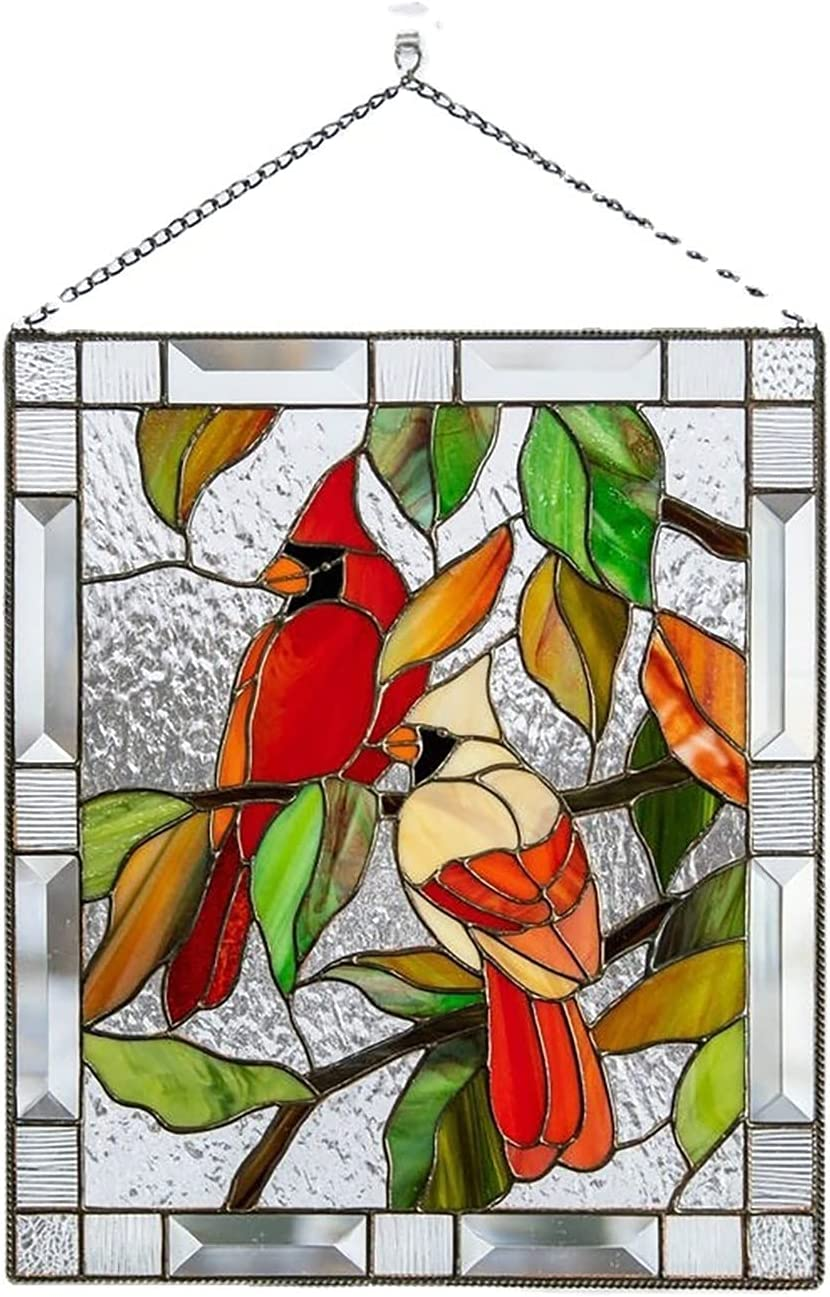 APLT Soldering Bargain Multicolor Birds on a Wire Stained High Window Glass Panel