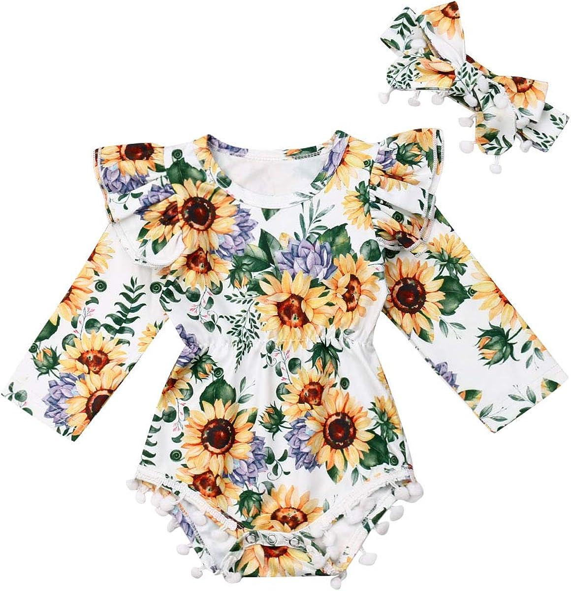 Newborn Kids Clothing Baby Girls Cute Sunflower Ju free Romper Halter shopping