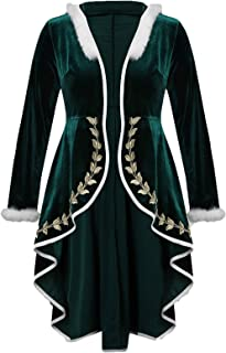 c42c3a4156265 KENANCY Womens  Plus Size Embroidery Hooded Outerwear Fur Trim High Low  Christmas Velvet Coat