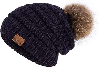 Winter Beanie Hat for Women, Real Fur Pom Pom Slouchy Chunky Knit Warm Fleece Lined Thermal Soft Ski Cap