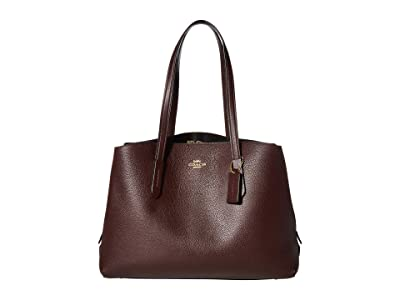 COACH Polished Pebble Leather Charlie 40 with Laptop Compartment (GD/Oxblood) Bags