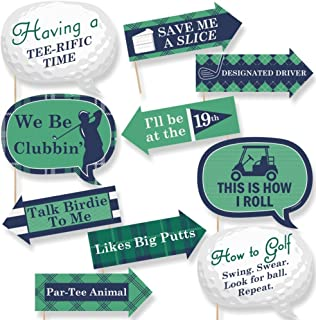 Funny Par-Tee Time - Golf - Party Photo Booth Props Kit - 10 Piece
