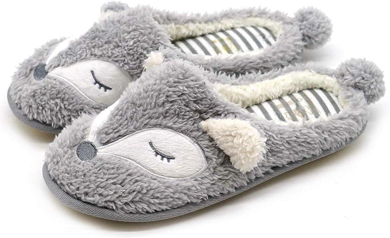 Tuoup Women's Fox Cotton Indoor Bedroom Animal House Slippers
