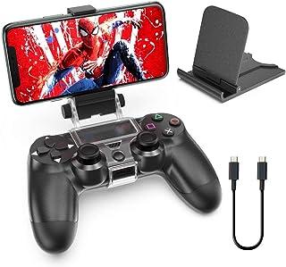 PS4携帯ホルダー PS4スマホホルダー OIVO PS4スマホクリップ PS4携帯電話ホルダー PS4コントローラーマウント PS4スマホ固定ホルダー PS4スマホマウントホルダー ワイヤレス IOS Android対応