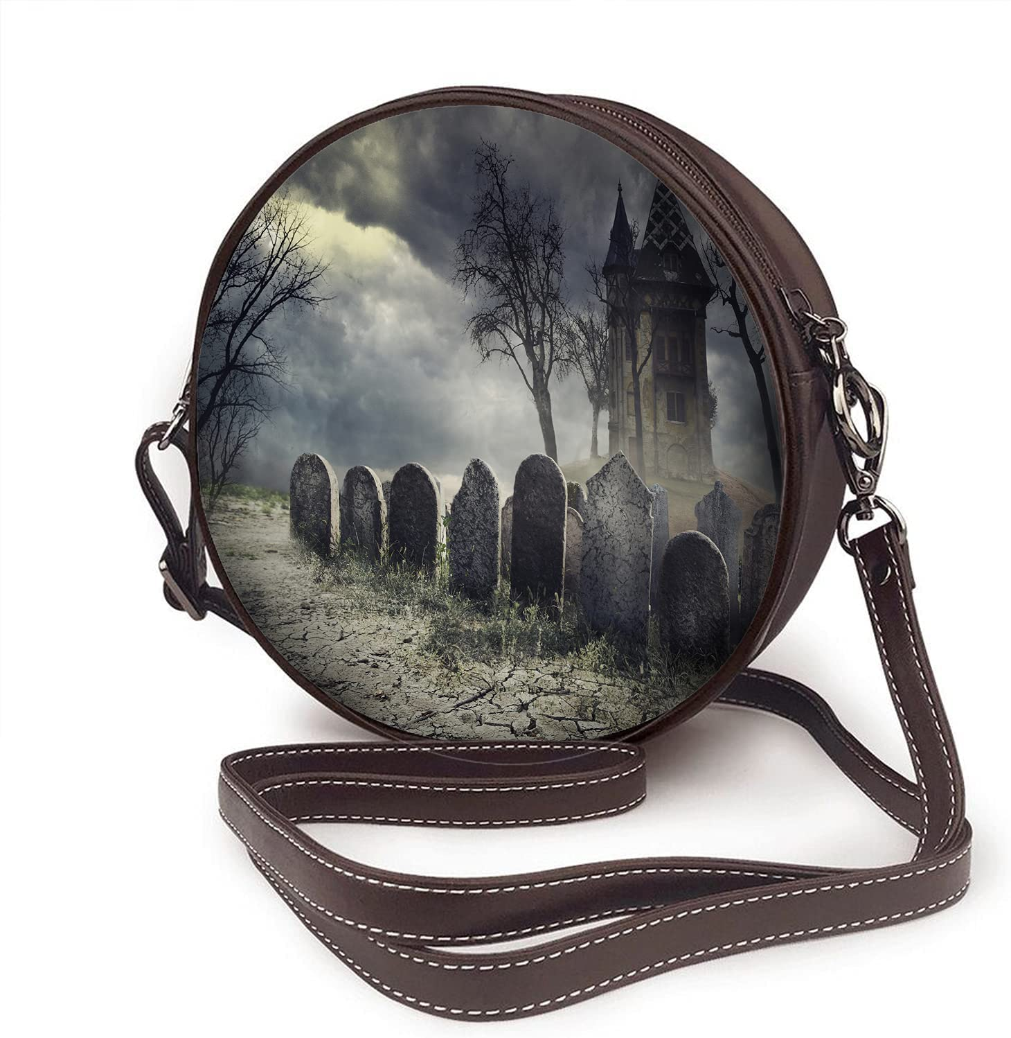 WONDERTIFY Haunted House Shoulder Bags Spooky Graveyard Halloween Scary Party Round Crossbody Bags For Women Microfiber Leather Purse Handbag
