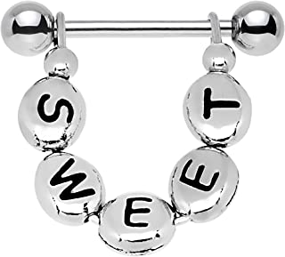 custom letter nipple rings