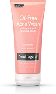 Neutrogena Oil Free Pink Grapefruit Acne Face Wash with Vitamin C, Salicylic Acid Acne Treatment Medicine, Gentle Foaming Vitamin C Facial Scrub to Treat and Prevent Breakouts, 6.7 fl. oz (Pack of 3)