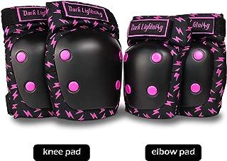 Dark Lightning Knee Pads for Kids/Toddler/Youth Skateboard Knee Pads MTB/Scooter/Skateboard/Roller 2 in 1 Elbow Pads Kids Set