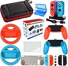 Accessories Kit for Nintendo Switch Games Bundle Wheel Grip Caps Carrying Case Screen Protector...