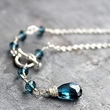 Toggle Clasp London Blue Topaz Necklace Sterling Silver Gemstone Briolette Dangle 18 Inch