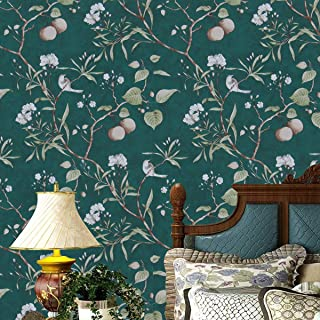 """Peach Tree Peel and Stick Wallpaper Green Wallpaper,17.7"""" x 78.7"""" Modern Flower&Bird Waterproof Removable Wallpaper Peel and Stick Natural Self Adhesive Wall Paper Vinyl Wall Covering for Home Use"""