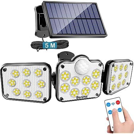 Solarlampen für Außen mit Bewegungsmelder, 138 LED Strahler Außen mit Fernbedienung, IP65 Wasserdichte, 360° Beleuchtungswinkel, 3 Modi Solar Wandleuchte mit 5m Kabel
