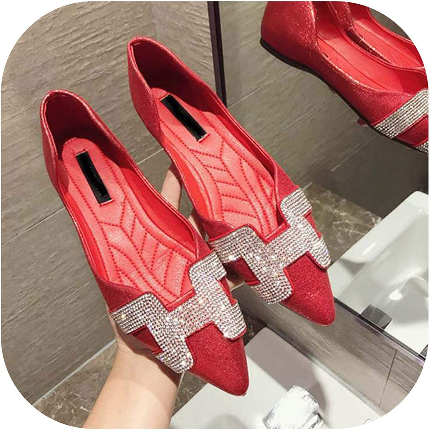 White Island Women Flat Ballet shoes Bling Crystal Pointed Toe Flats shoes Elegant Comfortable Lady Shiny shoes,Red,6