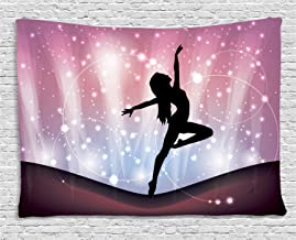 Ambesonne Contemporary Tapestry, Silhouette of Ballerina Performing on Abstract Backdrop Magic Dance Fine Arts, Wide Wall Hanging for Bedroom Living Room Dorm, 60