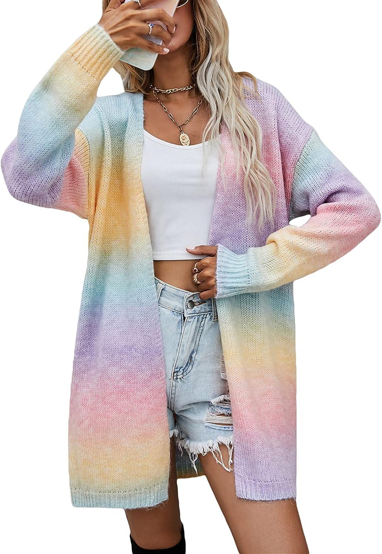 LXXIASHI Women Open Front Cardigan Sweaters Long Sleeve Tie Dye Loose Knit Lightweight Cardigan Sweater Coat