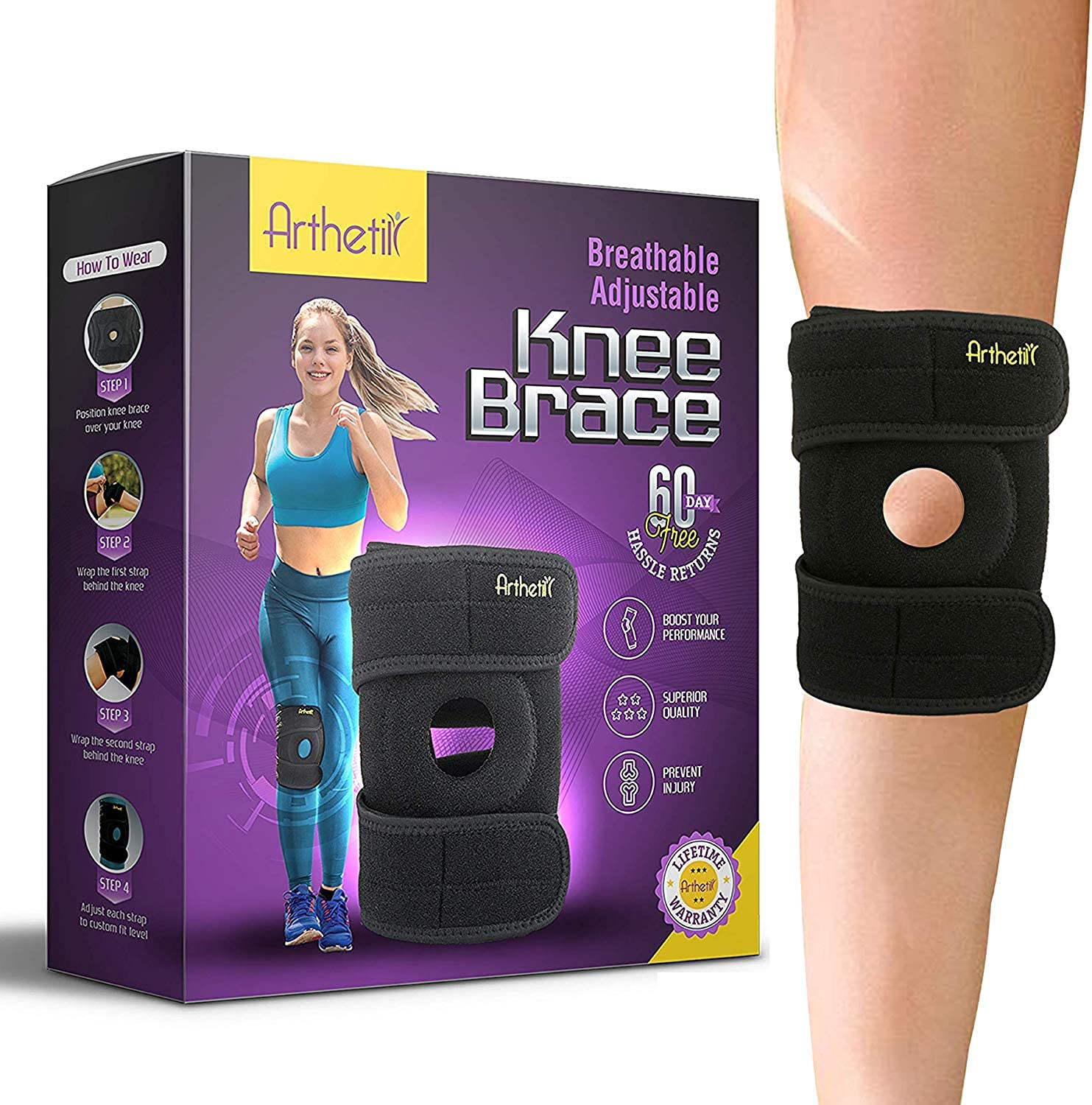 Knee Brace for Meniscus Tear   Supports and Relieves PCL, ACL, LCL, MCL, Arthritis, Tendonitis Pain   Open Patella Dual Stabilizers   Neoprene Brace  Non-Slip Straps