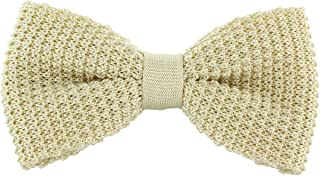 Michelsons of London Mens Silk Knitted Bow Tie - Cream