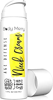 Body Merry Age Defense Neck Cream - Anti Aging Moisturizer w CoQ10 + Vitamin C + Squalane For Firming & Combating Wrinkles On Neck, Decolletage, Face & Eyes For Men And Women - Can Be Used Day & Night