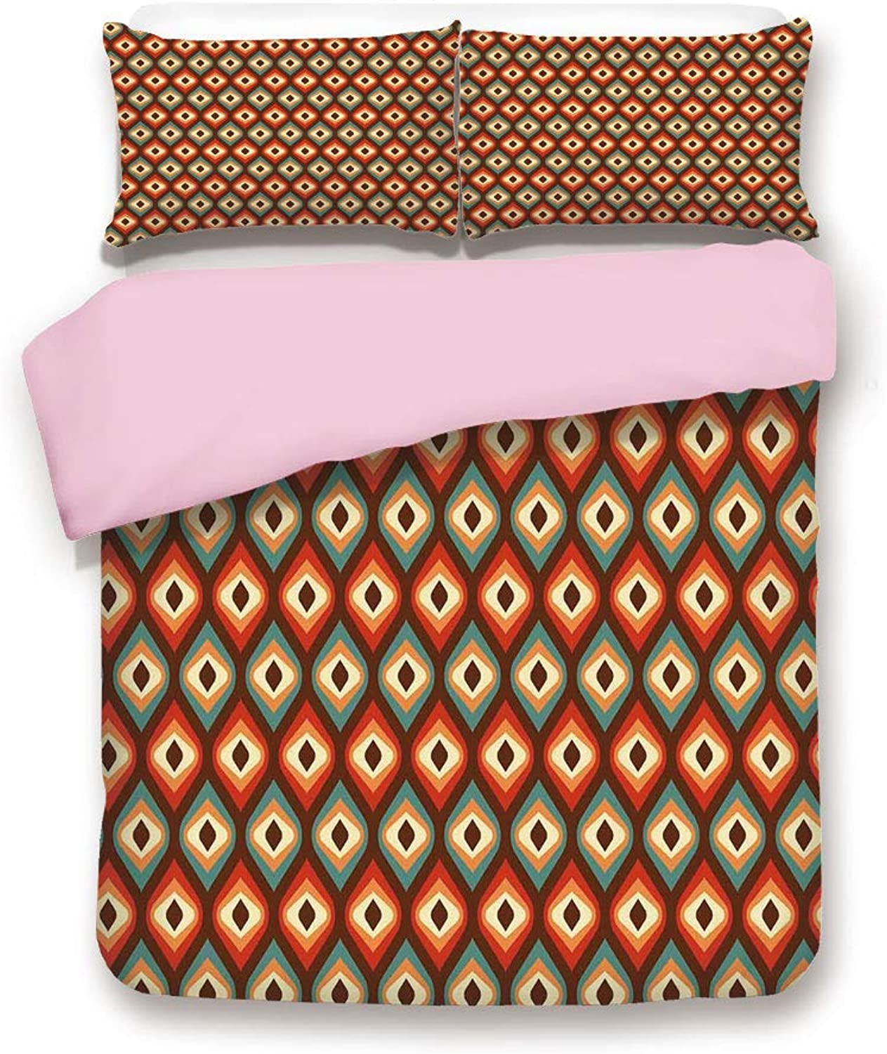 Pink Pink Pink Duvet Cover Set,Twin Size,Funky Unusual Shapes in Vibrant colors Oval Elliptic Forms Nested greenical Pattern,Decorative 3 Piece Bedding Set with 2 Pillow Sham,Best Gift For Girls Women,Multicolor a74413