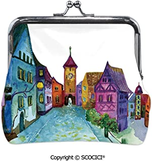Girl Lightweight Wallet,European Scenery with Pastel,Mini Clutch Wallet